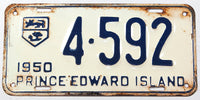 An antique 1950 passenger car license plate from the Canadian province of Prince Edward Island in very good minus condition