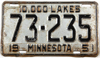 An antique 1951 Minnesota car license plate in good plus condition
