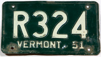 A 1951 Vermont car license plate in very good minus condition