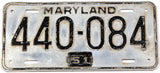 An antique 1951 Maryland passenger car license plate in very good minus condition
