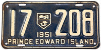 A classic 1951 passenger car license plate from the Canadian province of Prince Edward Island in very good condition
