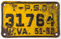 A classic 1951 - 1952 West Virginia public service commission license plate