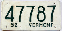 A Classic 1952 Vermont car license plate in very good condition