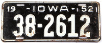 A vintage 1952 Iowa passenger car license plate in very good condition