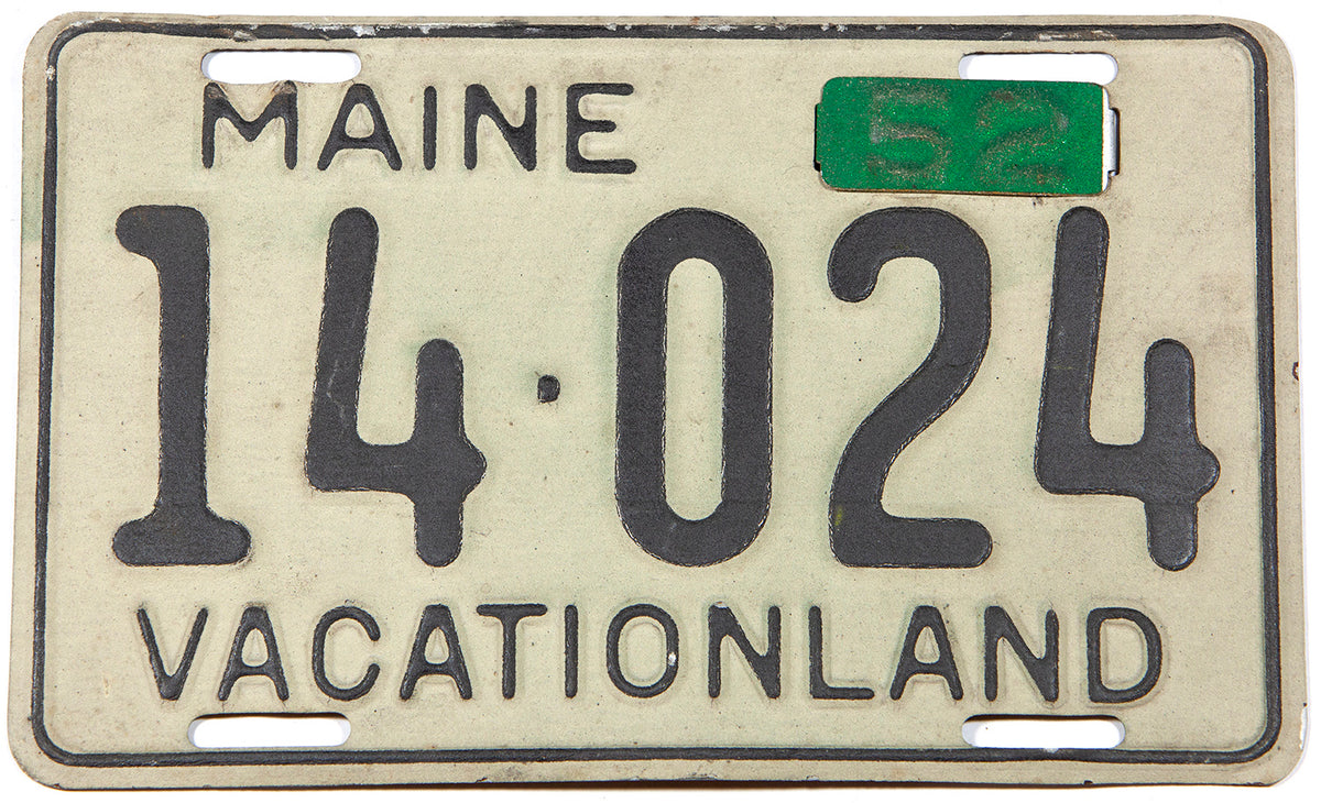 A classic 1952 Maine car license plate in very good plus condition