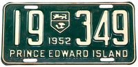 A classic 1952 passenger car license plate from the Canadian province of Prince Edward Island in very good condition