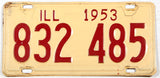 A classic 1953 Illinois car license plate in very good condition