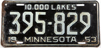 An antique 1953 Minnesota car license plate in good plus condition