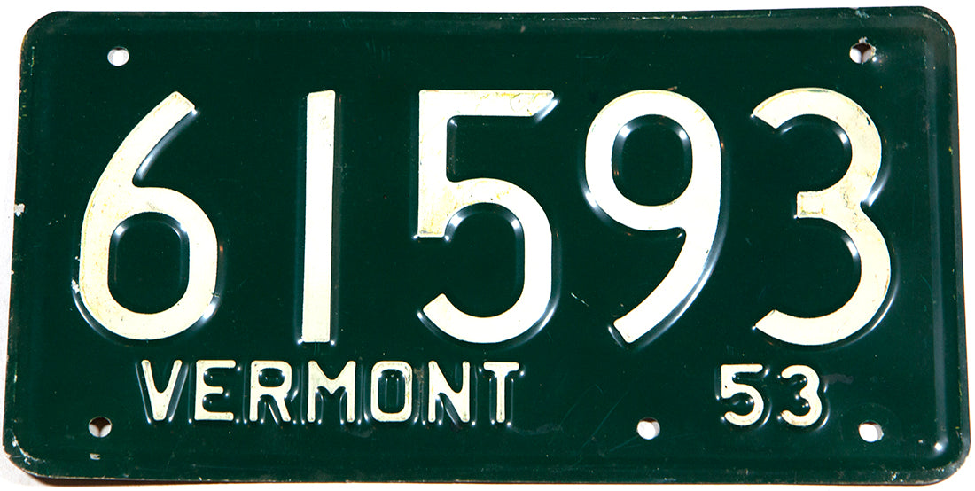 A Classic 1953 Vermont car license plate in very good plus condition