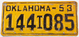 An antique 1953 Oklahoma truck license plate in very good condition