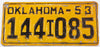 1953 Oklahoma Truck License Plate