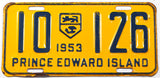 A classic 1953 passenger car license plate from the Canadian province of Prince Edward Island in very good plus condition