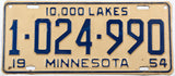 An antique 1954 Minnesota car license plate in very good plus condition