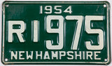 1954 New Hampshire single license plate in very good plus condition