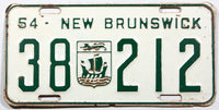 An antique 1954 New Brunswick passenger car license plate for sale at Brandywine General Store in very good condition