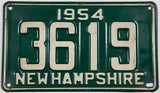 1954 NH car single license plate in very good plus condition