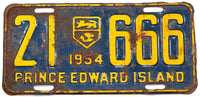 An antique 1954 passenger car license plate from the Canadian province of Prince Edward Island in good plus condition