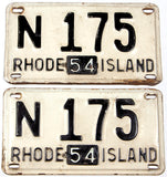 An antique pair of 1954 Rhode Island car license plates in very good condition