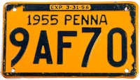 1955 Pennsylvania car license plate in very good plus condition