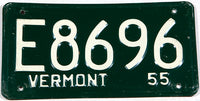 An antique 1955 Vermont Automobile License Plate in very good plus condition