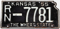 A 1955 Kansas state shaped license plate in very good minus condition