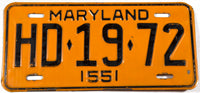 1955 Maryland passenger car License Plate in very good condition