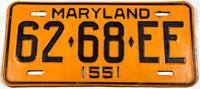 1955 Maryland truck License Plate in very good plus condition