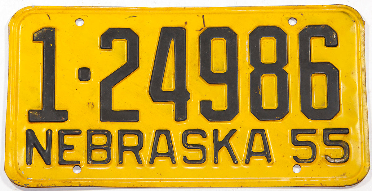 A 1955 Nebraska car license plate in very good condition