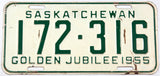 A classic 1955 Saskatchewan passenger car license plate in very good condition