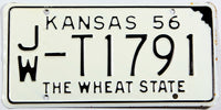 A 1956 Kansas Passenger truck license plate in NOS excellent minus condition