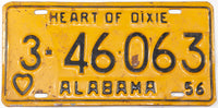 A vintage 1956 Alabama Passenger Car License Plate in very good condition