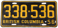 An antique 1956 British Columbia passenger car license plate in very good plus condition