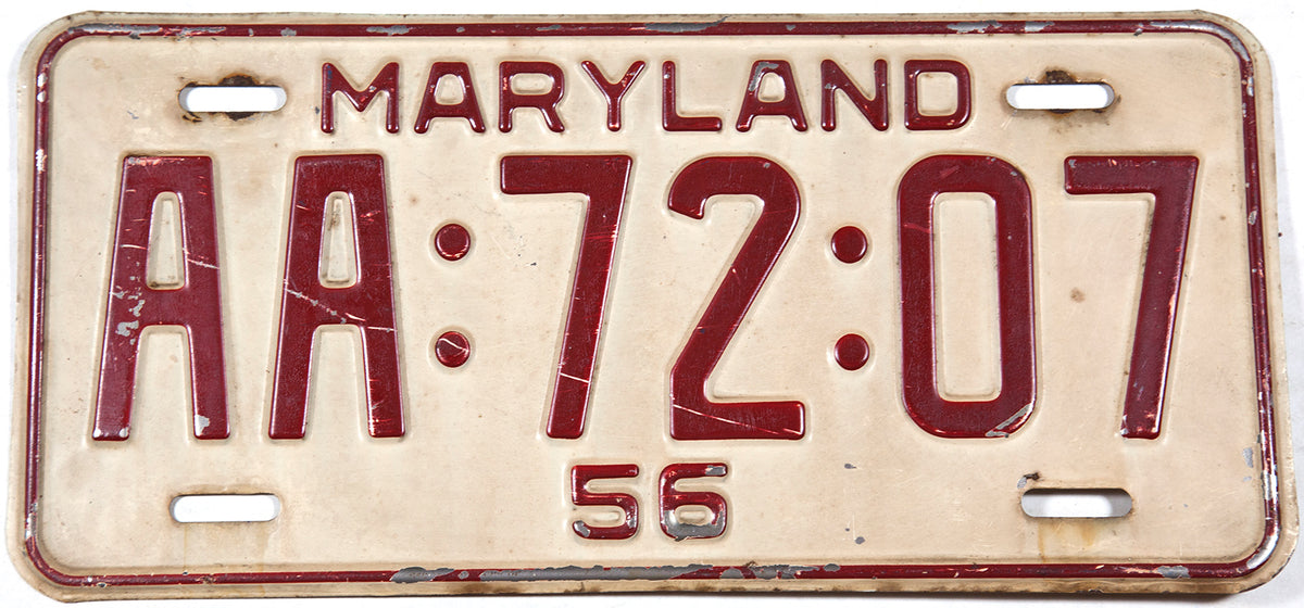1956 Maryland Car License Plate with AA prefix Very Good