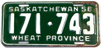 A classic 1956 Saskatchewan passenger car license plate in very good condition