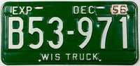A classic 1956 Wisconsin truck license plate in very good plus condition with two extra holes