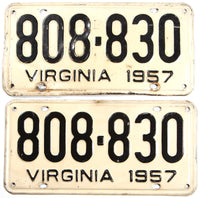 A pair of 1957 Virginia license plates in very good condition