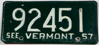A Classic 1957 Vermont car license plate in very good condition
