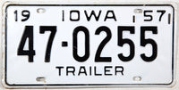 1957 Iowa Trailer License Plate in NOS Excellent minus condition