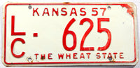 A 1957 Kansas passenger car license plate in very good plus condition