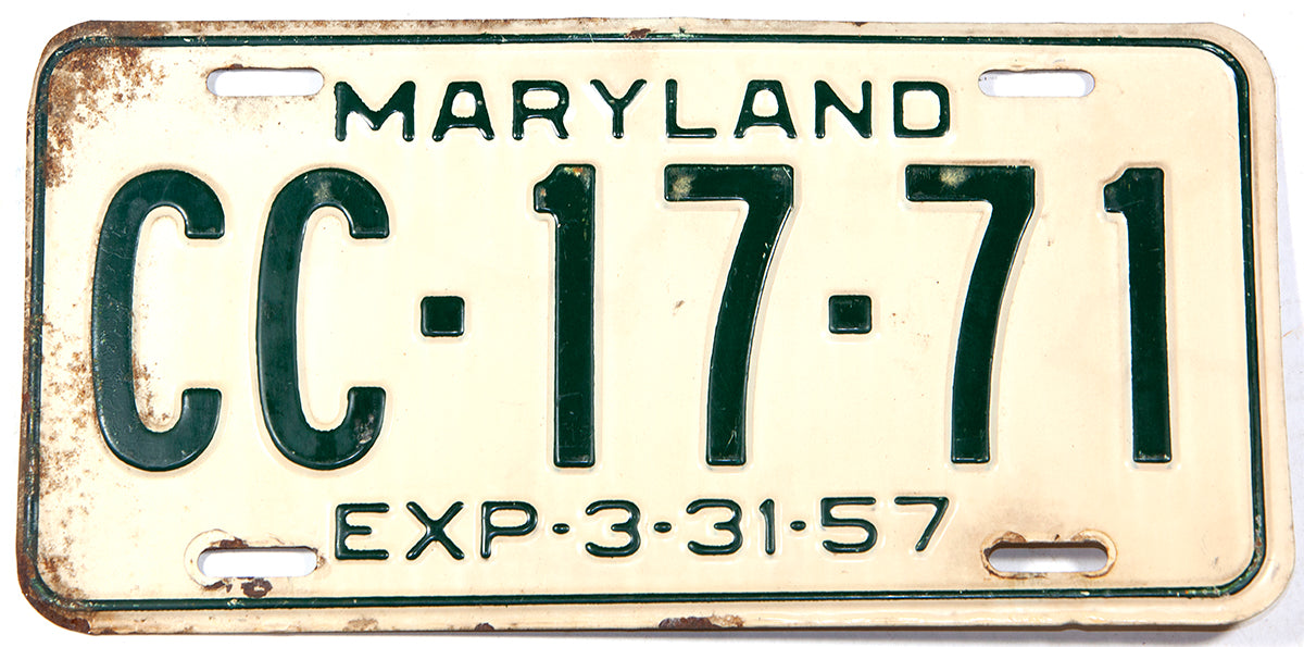 An antique 1957 Maryland Knights of Columbus License Plate in very good condition