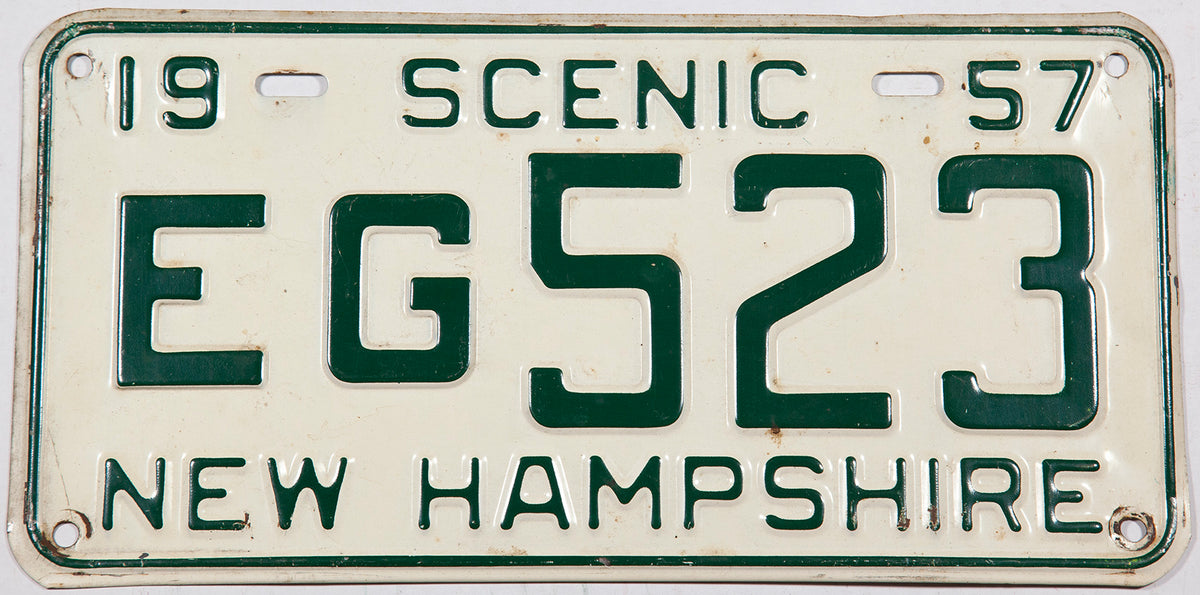 1957 New Hampshire car license plate in very good plus condition