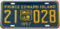 A classic 1957 passenger car license plate from the Canadian province of Prince Edward Island in very good plus condition