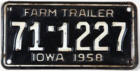 1958 Iowa Farm Trailer License Plate grading very good plus
