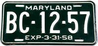 1958 Maryland Passenger Car License Plate in very good plus condition