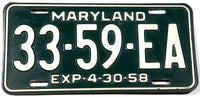 1958 Maryland Truck License Plate in very good plus condition