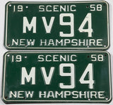 1958 New Hampshire car license plates in very good plus condition