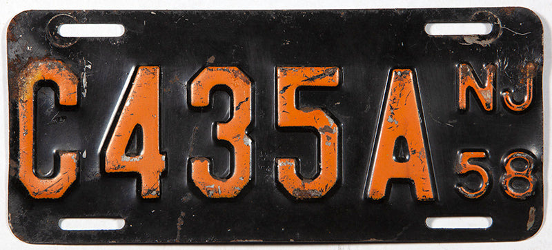 An antique 1958 New Jersey motorcycle license plate in very good condition