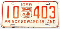 A classic 1958 passenger car license plate from the Canadian province of Prince Edward Island in very good condition