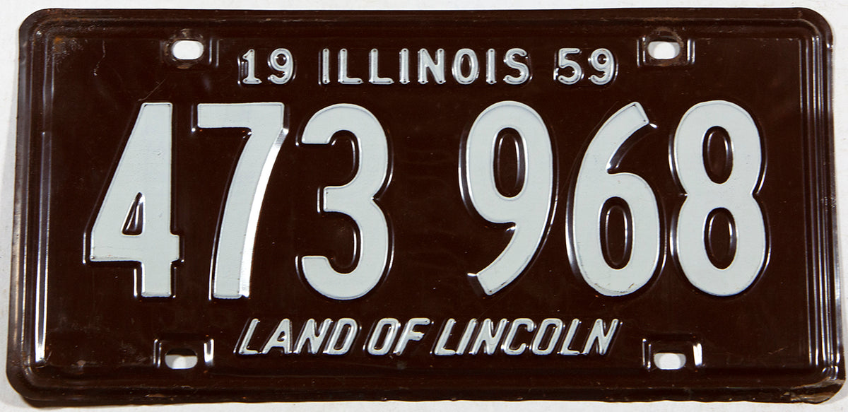1959 Illinois car license plate in excellent minus condition