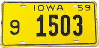 A vintage 1959 Iowa passenger car license plate in very good plus condition